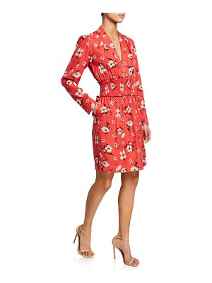 Rebecca Taylor Daniella Floral-Print Long-Sleeve Smocked-Waist Dress