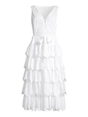 Rebecca Taylor embroidered tiered cotton midi dress