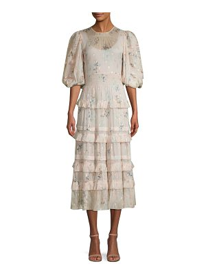Rebecca Taylor floral puffed-sleeve dress