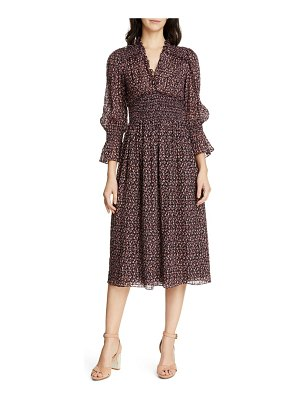 Rebecca Taylor floral smock detail long sleeve silk & cotton dress