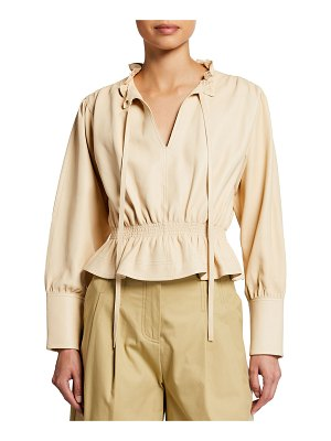 Rebecca Taylor Glove Leather Smocked Ruffle Blouse