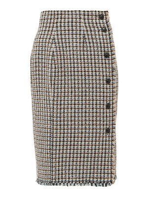 Rebecca Taylor houndstooth tweed cotton blend skirt