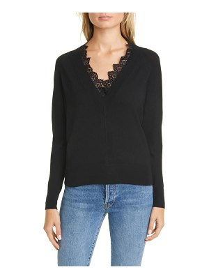 Rebecca Taylor lace detail v-neck merino wool sweater