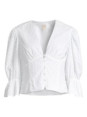 Rebecca Taylor leaf embroidered button-front top
