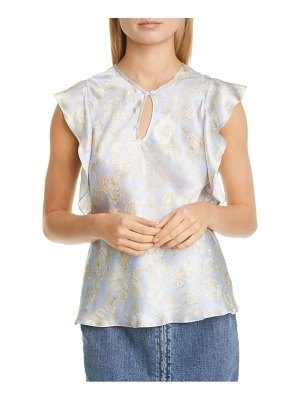 Rebecca Taylor leaf flutter sleeve silk top