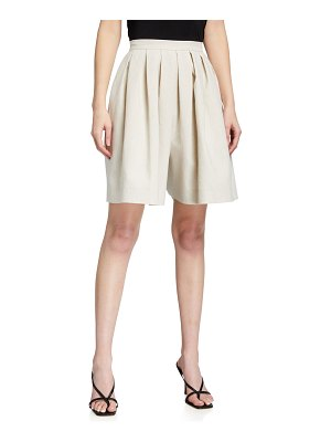 Rebecca Taylor Linen Suiting Pleated Shorts