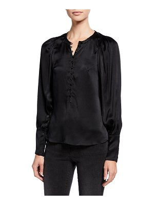 Rebecca Taylor Long-Sleeve Charmeuse Button-Front Top