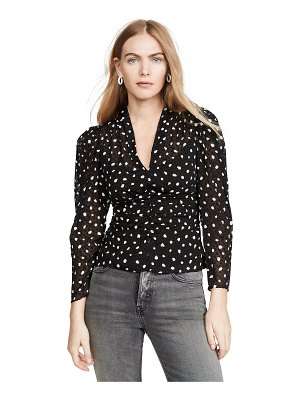 Rebecca Taylor long sleeve dot v neck top