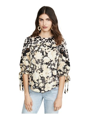 Rebecca Taylor long sleeve gold leaf top