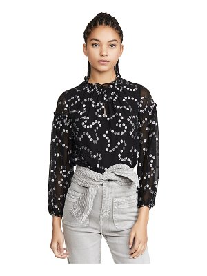 Rebecca Taylor long sleeve metallic nuage top