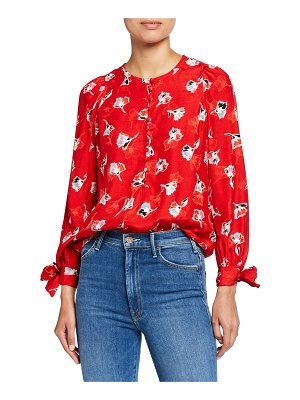 Rebecca Taylor Long-Sleeve Paintbrush Button-Front Top