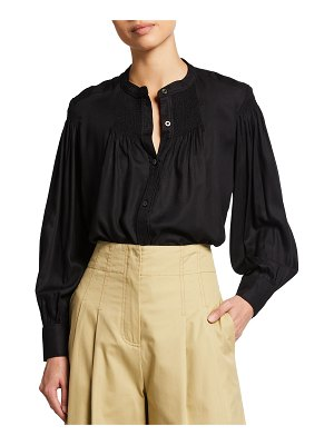 Rebecca Taylor Long-Sleeve Smocked Twill Blouse
