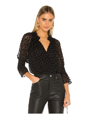 Rebecca Taylor long sleeve velvet dot top