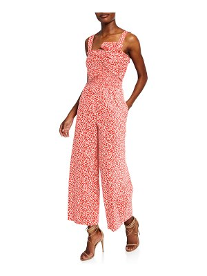 Rebecca Taylor Malia Sleeveless Printed Bow Jumpsuit