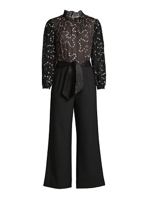 Rebecca Taylor metallic dotted silk wide-leg jumpsuit