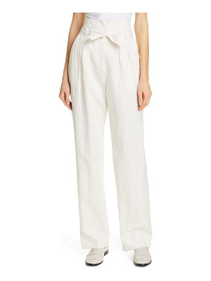 Rebecca Taylor pinstripe belted wide leg pants