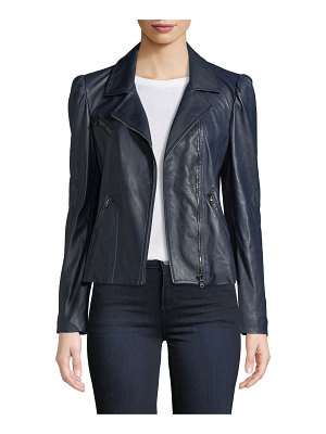 Rebecca Taylor Puff-Sleeve Leather Biker Jacket