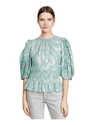 Rebecca Taylor short sleeve metallic jacquard top
