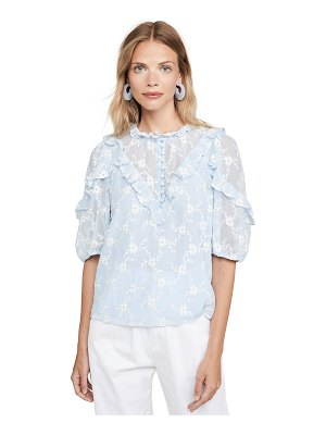 Rebecca Taylor short sleeve vine embroidery top