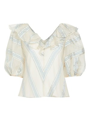 Rebecca Taylor short sleeve yarn dye stripe top