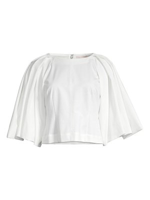 Rebecca Taylor silk-blend cropped wide-sleeve blouse