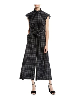 Rebecca Taylor Sleeveless Plaid Silk Wide-Leg Jumpsuit