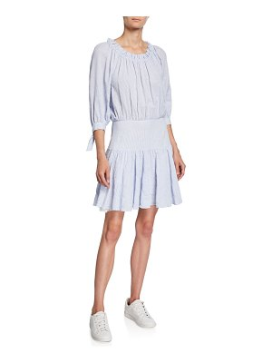Rebecca Taylor Striped 3/4-Sleeve Scoop-Neck Short Dress