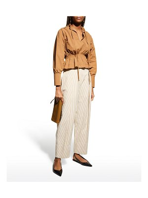 Rebecca Taylor Striped High-Rise Pleated Pants