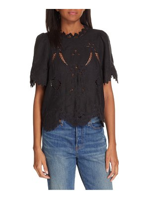Rebecca Taylor terri embroidered linen top