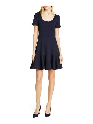 Rebecca Taylor textured scallop detail fit & flare dress