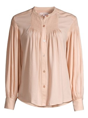 Rebecca Taylor twill smocked button-up blouse
