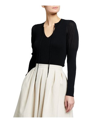 Rebecca Taylor V-Neck Pullover Top with Ties