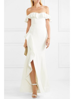Rebecca Vallance aegean off-the-shoulder lace-up crepe gown