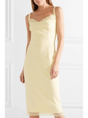 Rebecca Vallance demoiselles lace-trimmed crepe midi dress
