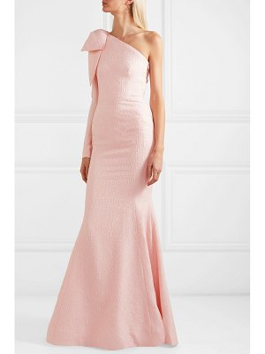Rebecca Vallance harlow one-shoulder bow-detailed cloqué gown