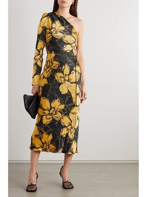 Rebecca Vallance roswell one-sleeve belted floral-print satin midi dress
