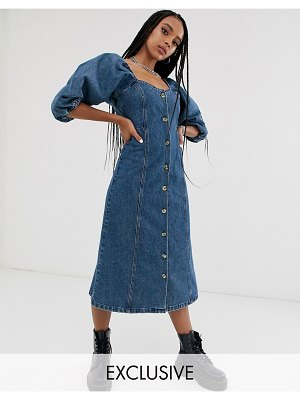 Reclaimed Vintage inspired button front midi dress with puff sleeve-blue