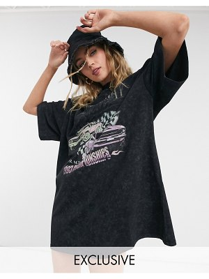Reclaimed Vintage inspired car print t-shirt dress in washed black