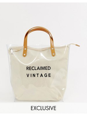 Reclaimed Vintage inspired clear plastic tote bag with logo canvas inner