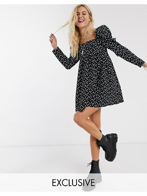 Reclaimed Vintage inspired cotton smock dress with polka dot in black