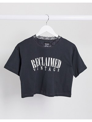 Reclaimed Vintage inspired crop t-shirt with lace neck-gray
