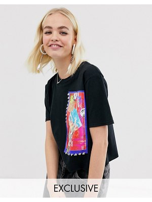 Reclaimed Vintage inspired crop t-shirt with stellar photographic print