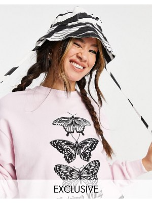 Reclaimed Vintage inspired cropped sweatshirt with butterfly print in pink