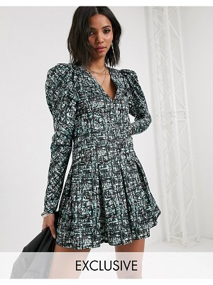Reclaimed Vintage inspired dress with puff sleeve in abstract check print-multi