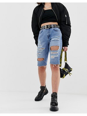 Reclaimed Vintage inspired longer length short in light stone wash with extreme rips-blue