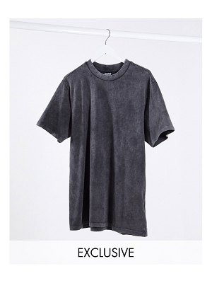 Reclaimed Vintage inspired oversized t-shirt dress in washed charcoal-gray