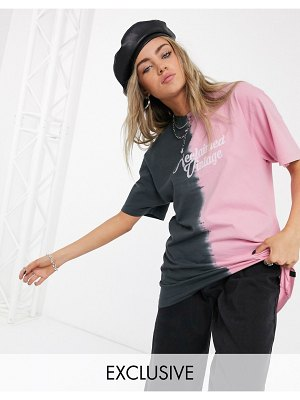 Reclaimed Vintage inspired oversized t-shirt with washed splice effect and logo-multi