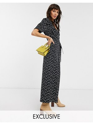 Reclaimed Vintage inspired polka dot jumpsuit with wrap front in black-multi