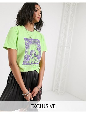 Reclaimed Vintage inspired t-shirt with cherub print-green