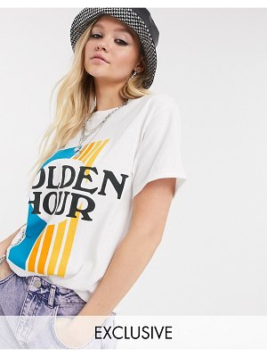 Reclaimed Vintage inspired t-shirt with golden hour print in white